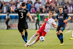 June 13, 2018 - San Jose, CA, U.S. - SAN JOSE, CA - JUNE 13: New England Revolution Forward Krisztian Nemeth (9) goes down after a challenge from San Jose Earthquakes Defender Francois Affolter (3) during the MLS game between the New England Revolution and the San Jose Earthquakes on June 13, 2018, at Avaya Stadium in San Jose, CA. The game ended in a 2-2 tie. (Photo by Bob Kupbens/Icon Sportswire) (Credit Image: © Bob Kupbens/Icon SMI via ZUMA Press)