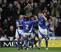 Photo: Lee Earle.<br /> Southampton v Ipswich Town. Coca Cola Championship. 21/01/2006. Alan Lee is congratulated after scoring Ipswich's second goal.