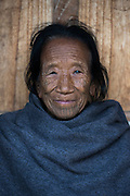 Konyak Naga woman<br /> Konyak Naga headhunting Tribe<br /> Mon district<br /> Nagaland,  ne India