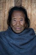 Konyak Naga woman<br /> Konyak Naga headhunting Tribe<br /> Mon district<br /> Nagaland,  ne India