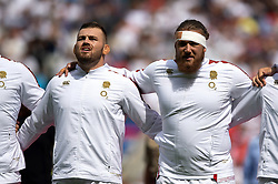Luke Cowan-Dickie of England and Harry Williams of England sing the national anthem - Mandatory byline: Patrick Khachfe/JMP - 07966 386802 - 11/08/2019 - RUGBY UNION - Twickenham Stadium - London, England - England v Wales - Quilter International