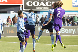March 17, 2018 - New York, New York, United States - Jonathan Spector (2) of Orlando City SC and Maxime Chanot (4) of NYC FC collided during regular MLS game at Yankee stadium NYC FC won 2 - 0  (Credit Image: © Lev Radin/Pacific Press via ZUMA Wire)