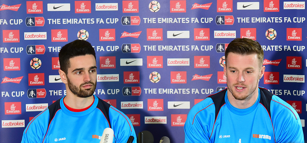 Lincoln City's Sam Habergham and Paul Farman `media<br /> <br /> Photographer Andrew Vaughan/CameraSport<br /> <br /> Emirates FA Cup Quarter Final - Lincoln City Press Conference - Thursday 9th March 2017 - Sincil Bank - Lincoln<br />  <br /> World Copyright © 2016 CameraSport. All rights reserved. 43 Linden Ave. Countesthorpe. Leicester. England. LE8 5PG - Tel: +44 (0) 116 277 4147 - admin@camerasport.com - www.camerasport.com