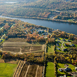 A housing development next to farms and the Connecticut River in South Hadley, Massachusetts.