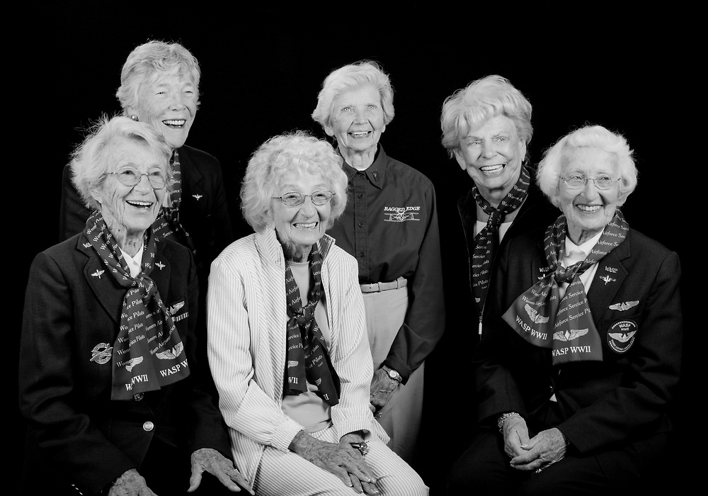 Left to Right:  Dotty Swain Lewis, Dawn Seymour, Vi Cowden, Marty Wyall, Norma Penny Halberg, Jan Goodrum.   <br /> <br /> Created by aviation photographer John Slemp of Aerographs Aviation Photography. Clients include Goodyear Aviation Tires, Phillips 66 Aviation Fuels, Smithsonian Air & Space magazine, and The Lindbergh Foundation.  Specialising in high end commercial aviation photography and the supply of aviation stock photography for advertising, corporate, and editorial use.