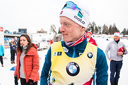 March 24, 2019 - Oslo, NORWAY - 190324 Johannes Thingnes Bø of Norway and his wife Hedda Kløvstad Dæhli after the men's 15 km mass start during the IBU World Cup on March 24, 2019 in Oslo..Photo: Jon Olav Nesvold / BILDBYRÃ…N / kod JE / 160428 (Credit Image: © Jon Olav Nesvold/Bildbyran via ZUMA Press)