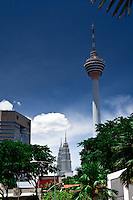The Kuala Lumpur skyline is dominated by the KL Tower and Petronas Twin Towers.