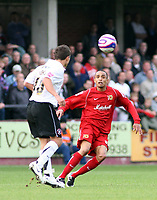 Photo: Mark Stephenson.<br /> Hereford United v Milton Keynes Dons. Coca Cola League 2. 20/10/2007.M K Dons Mark Wright wins the ball
