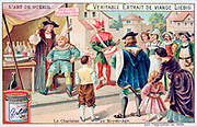 The Art of Medicine: A seller of quack cures in a medieval town offering bottles of  his remedies.  Liebig Trade Card c1910.  Charlatan