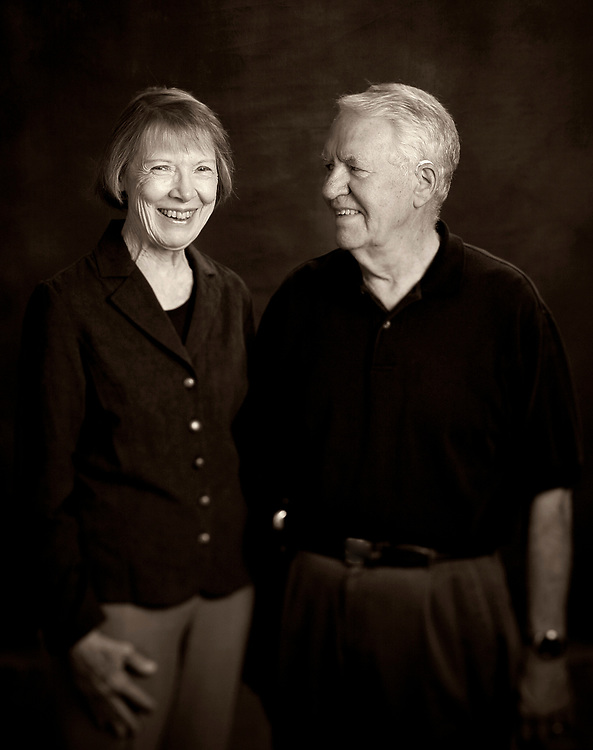 Portrait of Senior couple in black and white in the studio in Boston