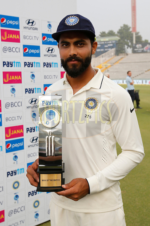 Ravindra Jadeja of India with Paytm Man of the Match award during day 4 of the third test match between India and England held at the Punjab Cricket Association IS Bindra Stadium, Mohali on the 29th November 2016.<br /> <br /> Photo by: Deepak Malik/ BCCI/ SPORTZPICS