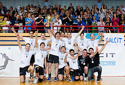 Players of Calcit celebrate after placed second after the volleyball match between Calcit Volleyball and ACH Volley in 4th Final Round of Radenska Classic League 2012/13 on April 16, 2013 in Arena Kamnik, Slovenia. ACH Volley defeated Calcit Kamnik in games 3-1 and became Slovenian National Champion 2013.(Photo By Vid Ponikvar / Sportida)