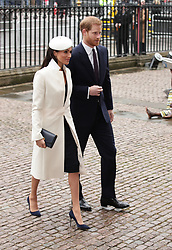 Prince Harry and Meghan Markle, arrive for the Commonwealth Service at Westminster Abbey, London.