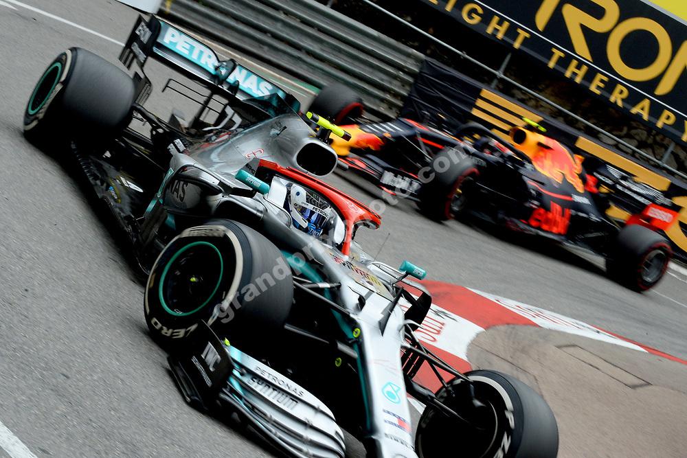 Valtteri Bottas (Mercedes) leading Pierre Gasly (Red Bull-Honda) during the 2019 Monaco Grand Prix. Photo: Grand Prix Photo