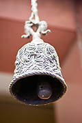 The elephant bell in the Ghantewala allegedly rung by the Emporer's elephant when he passed by the shop, the famous confectioners in Chadni Chowk, Delhi, India<br /> The Ghantewala Halwai in Chandni Chowk in Delhi, was established in 1790 and is one of the oldest halwais (traditional sweet shop) in India