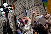 20210923/Pablo Vignali/ URUGUAY/ MONTEVIDEO/Concentración del colectivo trans del Uruguay en la explanada de la Universidad de la Reública por el Día de las identidades trans, en Montevideo.<br /> <br /> En la foto: Día de las identidades trans, en Montevideo. Foto: Pablo Vignali / adhocFOTOS<br /> Día de las identidades trans, en Montevideo.