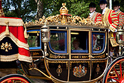 The Royal Carriage. Royal procession for the State Opening of Parliament, London. Accompanied by the Life Guards and the Blues and Royals, this procession takes Queen Elizabeth to parliament to deliver the Queen's Speech. Accompanied in the procession by her State Crown and a golden Mace.