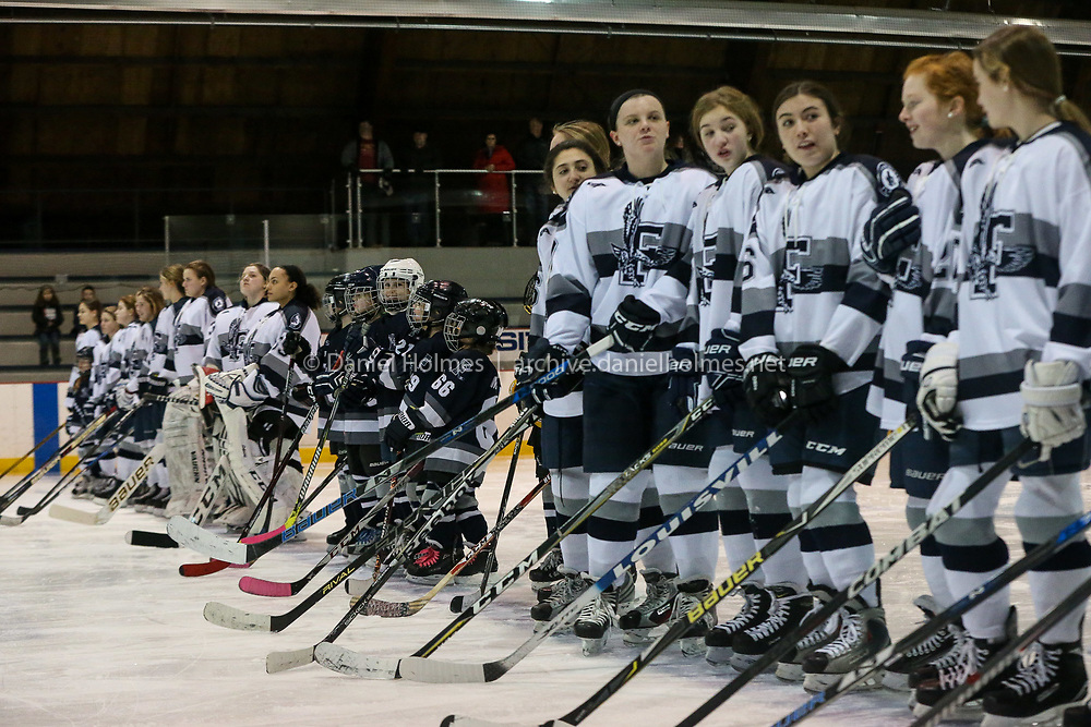 (2/2/19, FRAMINGHAM, MA) Framingham's NAME DOESTHIS during the girls hockey game against St. Joseph's at Loring Arena in Framingham on Saturday. [Daily News and Wicked Local Photo/Dan Holmes]