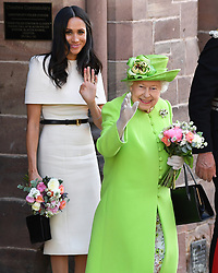 The Duchess of Sussex and Queen Elizabeth II after attending a lunch at Chester Town Hall. Photo credit should read: Doug Peters/EMPICS