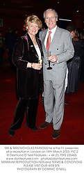 MR & MRS NICHOLAS PARSONS he is the TV presenter, at a reception in London on 18th March 2003.PIC 2