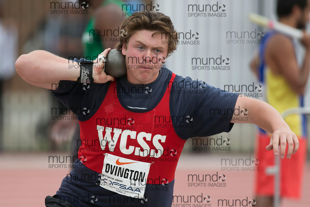 (York, Canada---09 June 2018) Brandon Ovington throwing in the senior boys shot put final at the 2018 OFSAA Ontario High School Track and Field Championships at York Lions Stadium. (Photo by Sean Burges/Mundo Sport Images)