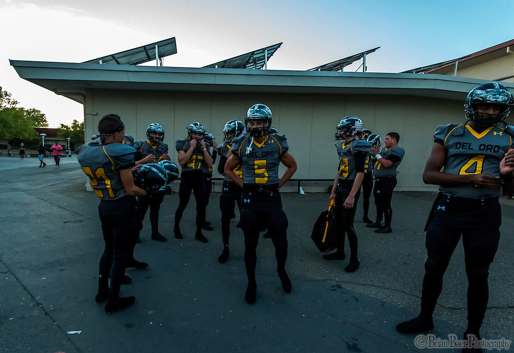 Members of the Del Oro Golden Eagle's wait to leave the locker room before the game as the Del Oro Golden Eagles varsity football team host the Oak Ridge Trojans, Friday Oct 21, 2016.<br /> photo by Brian Baer