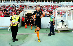 Michael Dawson of Hull City leads his side out for the warm up ahead of their Pre-season friendly against Benfica at the Estadio Algarve in Portugal - Mandatory by-line: Robbie Stephenson/JMP - 22/07/2017 - FOOTBALL - Estadio Algarve - Almancil,  - SL Benfica v Hull City - Pre-season friendly
