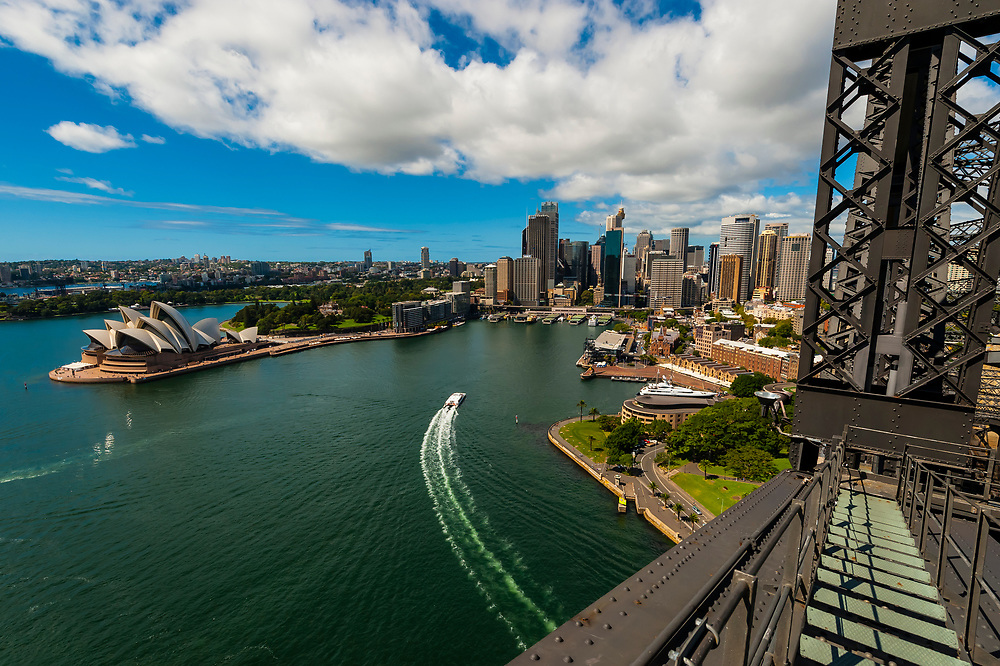 The Sydney Opera House and the Circular Quay seen from the Sydney Harbour Bridge, Sydney, New South Wales, Australia
