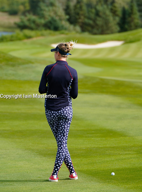 Auchterarder, Scotland, UK. 15 September 2019. Sunday Singles matches on final day  at 2019 Solheim Cup on Centenary Course at Gleneagles. Pictured;  Nelly Korda of Team USA waits to play approach to 8th green. Iain Masterton/Alamy Live News