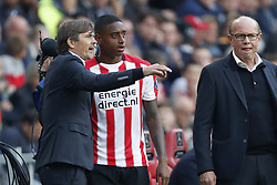 (L-R) coach Phillip Cocu of PSV, Pablo Rosario of PSV, team manager Mart van den Heuvel of PSV during the Dutch Eredivisie match between PSV Eindhoven and Feyenoord Rotterdam at the Phillips stadium on September 17, 2017 in Eindhoven, The Netherlands