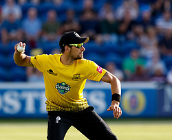 Gloucestershire's Benny Howell throws the ball<br /> <br /> Photographer Simon King/Replay Images<br /> <br /> Vitality Blast T20 - Round 8 - Glamorgan v Gloucestershire - Friday 3rd August 2018 - Sophia Gardens - Cardiff<br /> <br /> World Copyright © Replay Images . All rights reserved. info@replayimages.co.uk - http://replayimages.co.uk