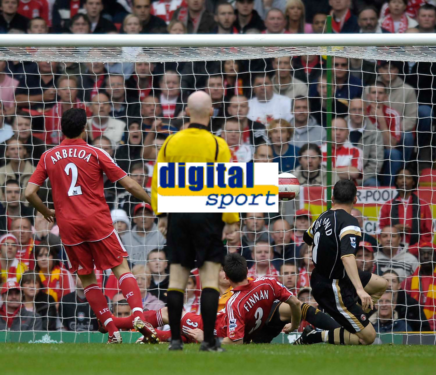 Photo: Jed Wee/Sportsbeat Images.<br /> Liverpool v Charlton Athletic. The Barclays Premiership. 13/05/2007.<br /> <br /> Charlton's Matt Holland scores the opening goal of the game.