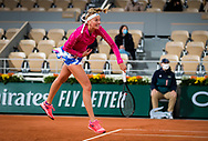 Petra Kvitova of the Czech Republic in action during the first round at the Roland Garros 2020, Grand Slam tennis tournament, on September 28, 2020 at Roland Garros stadium in Paris, France - Photo Rob Prange / Spain ProSportsImages / DPPI / ProSportsImages / DPPI