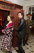 Helena Bonham-Carter and Tim Burton, Party to celebrate the publication of Olivia Joules and the Overactive Imagination, by Helen Fielding, royal Unitel Services Institute, whitehall. 54 November 2003. © Copyright Photograph by Dafydd Jones 66 Stockwell Park Rd. London SW9 0DA Tel 020 7733 0108 www.dafjones.com