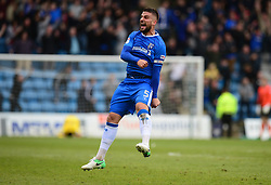 Max Ehmer of Gillingham celebrates the Gillingham win over bristol rovers. - Mandatory by-line: Alex James/JMP - 14/04/2017 - FOOTBALL - MEMS Priestfield Stadium - Gillingham, England - Gillingham v Bristol Rovers - Sky Bet League One