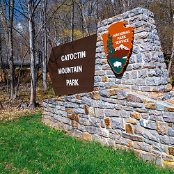 Thurmont, MD / USA - April 26, 2015:  The Catoctin Mountain Park Sign near Thurmont, Maryland. The Park is managed by the National Park Service.