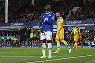 Romelu Lukaku of Everton reacts to a chance to score being missed. Premier league match, Everton v Crystal Palace at Goodison Park in Liverpool, Merseyside on Friday 30th September 2016.<br /> pic by Chris Stading, Andrew Orchard sports photography.
