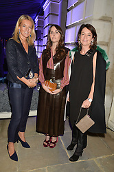 Left to right, FIONA DREESMAN, TANIA FARES and CORINNE FLICK at an evenig of Jewellery & Photography to launch the Buccellati 'Opera Collection' held at Spencer House, London on 21st October 2015.