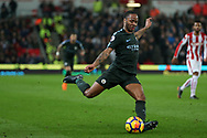 Raheem Sterling of Manchester City in action. Premier league match, Stoke City v Manchester City at the Bet365 Stadium in Stoke on Trent, Staffs on Monday 12th March 2018.<br /> pic by Andrew Orchard, Andrew Orchard sports photography.