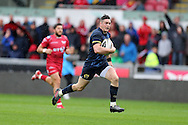 Ronan O'Mahony of Munster runs in and scores his teams 2nd try. Guinness Pro12 rugby match, Scarlets v Munster at the Parc y Scarlets in Llanelli, West Wales on Saturday 3rd September 2016.<br /> pic by  Andrew Orchard, Andrew Orchard sports photography.