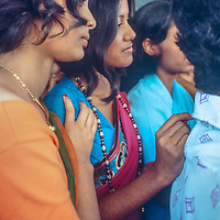 Middle class college students wear the latest fashions as mingle in  in Dhaka, Bangladesh, 1977.