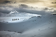 Krysuvik, Iceland, 1 apr 2019, Filmcrew in the snow. Dramatic scenery makes Iceland a perfect location for filming.