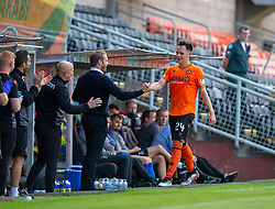 Dundee United's manager Robbie Neilson as Lawrence Shankland gets subbed. Dundee United 4 v 1 Inverness Caledonian Thistle, first Scottish Championship game of season 2019-2020, played 3/8/2019 at Tannadice Park, Dundee.