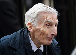 © Licensed to London News Pictures. 31/03/2018. Cambridge, UK. Former President of the Royal Society LORD MARTIN REES of Ladlow, arrives for The funeral of Stephen Hawking at Church of St Mary the Great in Cambridge, Cambridgeshire. Professor Hawking, who was famous for ground-breaking work on singularities and black hole mechanics, suffered from motor neurone disease from the age of 21. He died at his Cambridge home in the morning of 14 March 2018, at the age of 76. Photo credit: Ben Cawthra/LNP