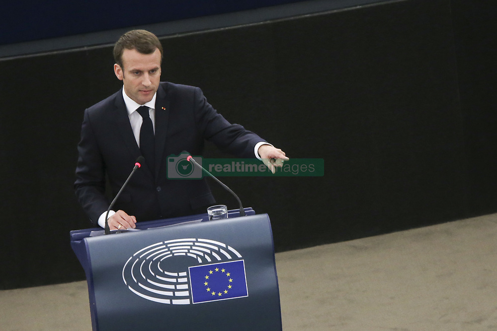 April 17, 2018 - Strasbourg, France - French President Emmanuel Macron delivers his speech at the European Parliament in Strasbourg, eastern France. Macron is expected to outline his vision for the future of Europe to push for deep reforms of the 19-nation eurozone and will launch a drive to seek European citizens' opinions on the European Union's future. (Credit Image: © Elyxandro Cegarra/NurPhoto via ZUMA Press)