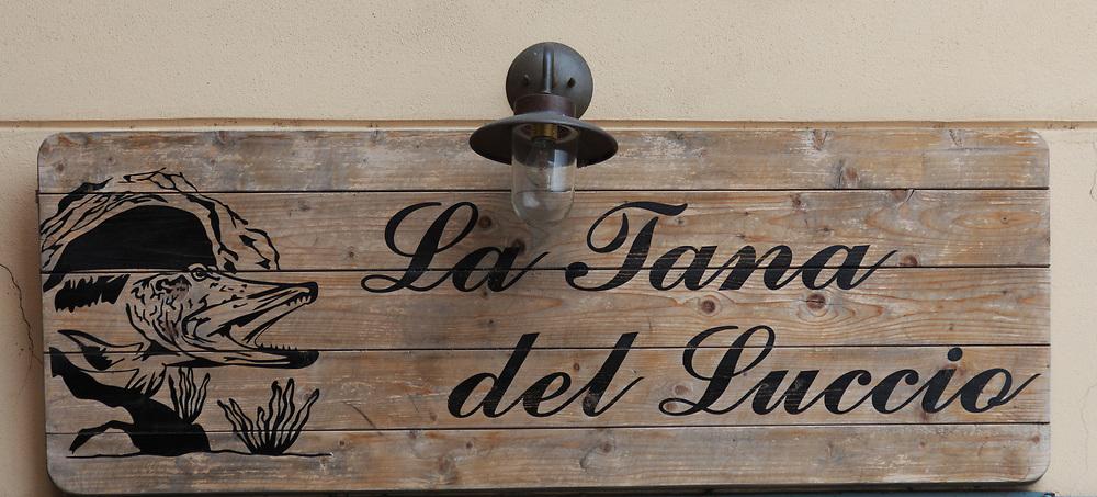 A sign in Menaggio  on Lago di Como, Italy.