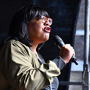 Speakers Diane Abbott,Shadow Home Secretary of Labour party attends to Stop The Coup, defend democracy - protest at Downing Street, will its be a coup like in HK protest? on 31 August 2019, London, UK