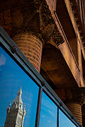 """SHOT 10/20/17 11:50:01 AM - The Guaranty Building, now called the Prudential Building, is an early skyscraper in Buffalo, New York. It was completed in 1896 and was designed by Louis Sullivan and Dankmar Adler.<br /> Sullivan's design for the building was based on his belief that """"form follows function"""". He and Adler divided the building into four zones. The basement was the mechanical and utility area. Since this level was below ground, it did not show on the face of the building. The next zone was the ground-floor zone which was the public areas for street-facing shops, public entrances and lobbies. The third zone was the office floors with identical office cells clustered around the central elevator shafts. The final zone was the terminating zone, consisting of elevator equipment, utilities and a few offices. The supporting steel structure of the building was embellished with terra cotta blocks. Buffalo, N.Y. is the second most populous city in the state of New York and is located in Western New York on the eastern shores of Lake Erie and at the head of the Niagara River. By 1900, Buffalo was the 8th largest city in the country, and went on to become a major railroad hub, the largest grain-milling center in the country and the home of the largest steel-making operation in the world. The latter part of the 20th Century saw a reversal of fortunes: by the year 1990 the city had fallen back below its 1900 population levels. (Photo by Marc Piscotty / © 2017)"""