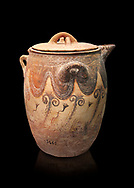 Minoan small bridge spouted jars decorated with lilies, Machlos 1500-1400 BC; Heraklion Archaeological  Museum, black background. .<br /> <br /> If you prefer to buy from our ALAMY PHOTO LIBRARY  Collection visit : https://www.alamy.com/portfolio/paul-williams-funkystock/minoan-art-artefacts.html . Type -   Heraklion   - into the LOWER SEARCH WITHIN GALLERY box. Refine search by adding background colour, place, museum etc<br /> <br /> Visit our MINOAN ART PHOTO COLLECTIONS for more photos to download  as wall art prints https://funkystock.photoshelter.com/gallery-collection/Ancient-Minoans-Art-Artefacts-Antiquities-Historic-Places-Pictures-Images-of/C0000ricT2SU_M9w