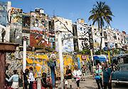 Cuba, Havana crumbling buildings Artist street